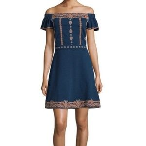Tory Burch Nell Dark Blue Embroidered Dress
